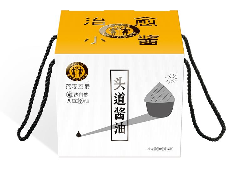 燕麦厨房餐饮专用酱油礼盒包装设计